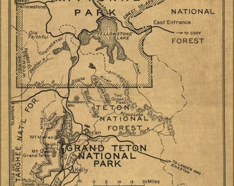 Poster, Many Sizes Available; Map Yellowstone & Grand Teton National Park 1929