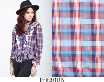 vintage 80s blouse vintage 1980s plaid and lace blouse vintage plaid hipster blouse