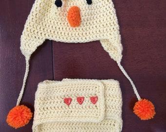 Chicken diaper cover set, diaper, hat, chicken, baby