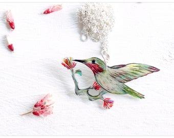 bird chain, calliope hummingbird, ooak, red-reen, bird jewellery