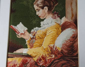 """Tapestry picture """"woman with book"""""""