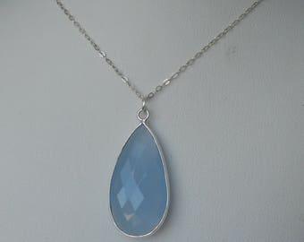 Powder Blue Teardrop Bezel Cut Chalcedony Pendant Necklace