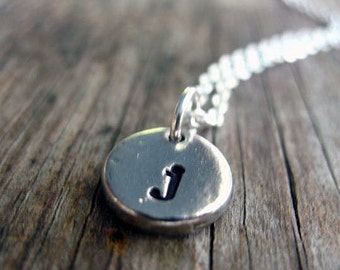 Personalized initial necklace - Hand stamped necklace - monogram necklace - personalized necklace - hand stamped jewelry - pewter necklace