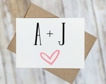 Wedding Thank You Cards with Envelopes / Initials and Heart Wedding / Shower / Engagement