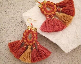 Orange Tassel Earrings, Festival Earrings, Gypsy Earrings, Boho Fan Earrings Trendy Jewelry Gift for Her