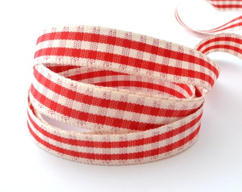 Gingham 15 mm wide polyester Ribbon