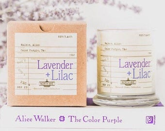 Lavender + Lilac Scented Candle/ Inspired by The Color Purple/ Part of North Ave Candles' Banned Books Collection