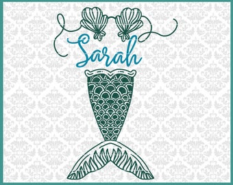 CLN0459 Mermaid Tail Scales Hand Drawn Shell Bra Name Frame SVG DXF Ai Eps PNG Vector Instant Download Commercial Cut FIle Cricut Silhouette