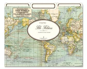 Cavallini World Map File Folder on Mercator's Projection, The Century Atlas, The World PSS 3420