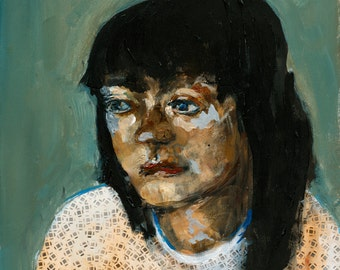 Original Portrait Painting, Wood burning portrait, Girl, Teal, thepaintedgrove