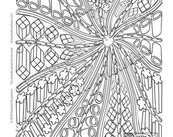 Licorice Zip Good Swirl a Plenty ~ Adult coloring page digi stamp ~all sorts of hand drawn candy~  Candy Kaleidoscope by Artwork Anywhere
