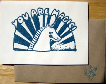 "Unicorn ""YOU ARE MAGIC"" Folded Stamped Embossed Cards + Envelopes Set of 4"