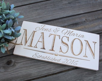 Custom Family Sign Wedding Established Signs Painted Personalized Wood Plaque