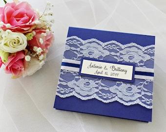 Navy Blue Wedding Invitation Lace Invitation Shimmery Invitation Glitzy Invitation Navy Blue Invitation Elegant Wedding Party Invitation