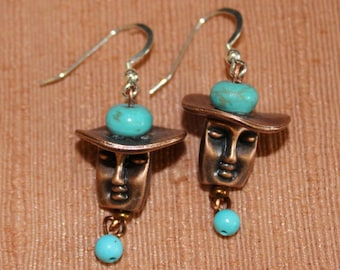 "Turquoise and Copper ""Face and Hat"" Earrings"