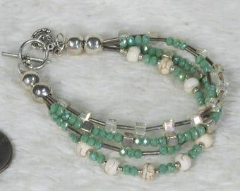 Green, Stone and Glass Multistrand Bracelet w/ Charm