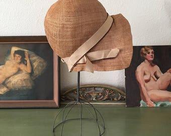 vintage 1920s cloche. 20s straw cloche hat. rare 1920s antique cloche