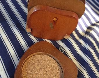 Retro mid century vintage cork teak placemats coaster drinks mat apple shaped
