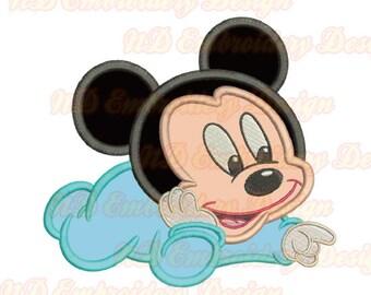 Baby Maus Stickerei Applikation, Mickey junge Maschine Stickerei-Design, ms-117