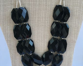 Black Statement Necklace Black Necklace Black Chunky Necklace Black Bridal Necklace Black Bridesmaid Necklace