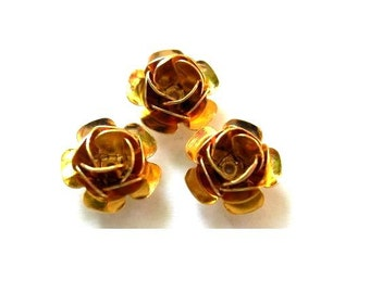 6 Vintage gold metal rose flower beads 11mmX6.5mm height