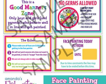 FACE PAINTING SIGNS - Rules and Info Signs