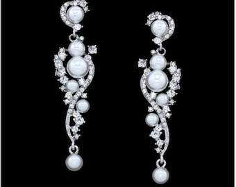 "PAIR Wedding Silver Vine Pearl Rhinestone Crystal Earrings Dangle Gauges Plugs Tunnels 4g 2g 0g 00g 7/16"" 1/2"" 5mm 6mm 8mm 9mm 11mm 12mm"