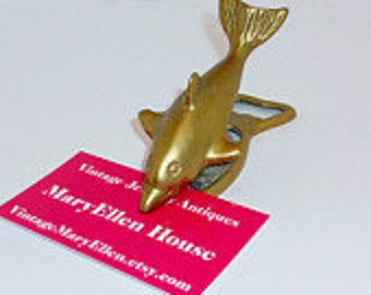 Vintage Brass Fish Business Card Holder, Home, Office