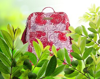 Women's Leather Backpack, Red Leather Backpack, Floral Red Backpack, Laptop Bag, Red Leather Bag, Roses Leather Backpack, Womens Rucksack