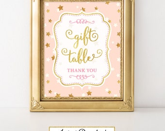 Twinkle Little Star Gift Table Birthday Party Sign Printable Twinkle Little Star Baby Shower Twinkle Little Star Decor FBRS014