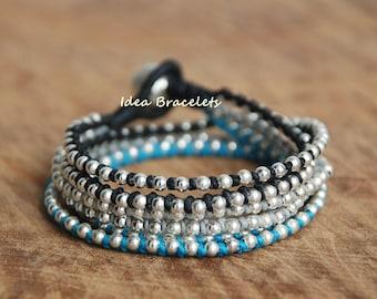Layers bracelets, Rock handmade bracelet, Silver jewelry, Wrap bracelet