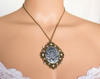 Cameo pendant gray Pendant grey rose Delicate industry Pendant grey cameo Pendant cameo rose Necklace cameo rose Pendant vintage rose
