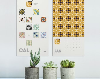 Spanishs Tiles 2018 Wall Calendar, Modernist Tiles, Christmas Gifts, Barcelona Tile, Wall Calendar, Barcelona Design, Wall Decor. SPCAL1