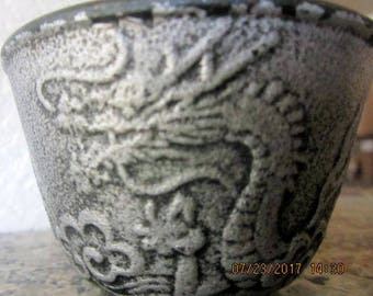 Vintage metal over ceramic dipping dish black and pewter dragon design
