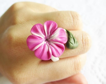 Purple Plumeria Ring, Polymer Clay Ring, Adjustable Ring, Flower, Handmade Jewelry, Flower Jewelry, Purple Flower, Purple Plumeria