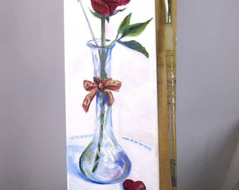 Romantic Rose, Chocolate Candy, tall small still life acrylic painting