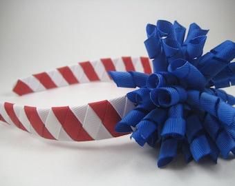 Red White Blue Headband - Blue Korker Bow - Woven Braided Headband -  Headband and Korker Bow Set
