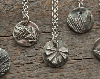 bridesmaid gift, silver necklaces, botanical jewelry, wedding jewelry, gift for gardener, gift for chef