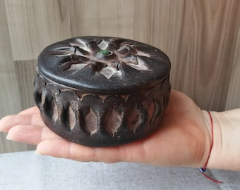 Leather box /Leather jewelery box /Rustic ring box/Vintage leather box/Jewellery box /Round leather box /Brown leather box / Jewelry storage