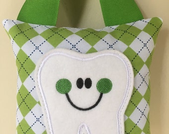 Tooth Fairy Pillow- Green and White Argyle Pillow with Green Ribbon - Kids Pillow - Kids Gift