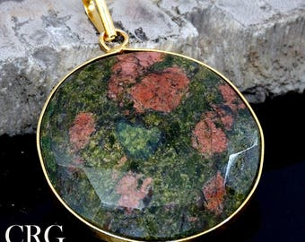 Gold Plated Faceted Round Unakite Pendant (FC45DG)