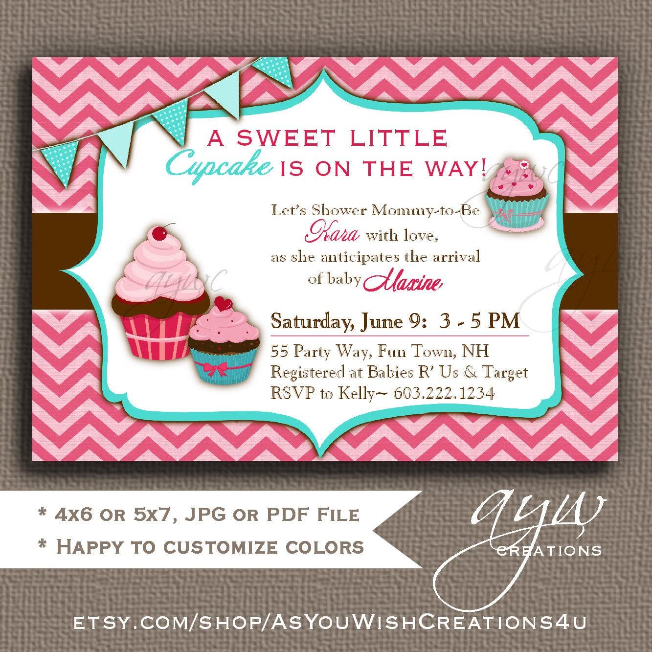 Cupcake Baby Shower Invitation Girl Cupcake Shower Invitation