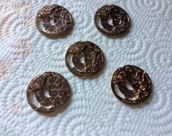 Beautiful copper colored watch plates parts steampunk jewelry or sculptures