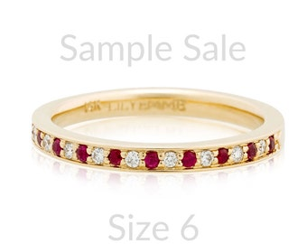 Size 6 Ready to Ship, Pavé Ruby and Diamond Ring, 14K Gold Half Eternity Band, pave diamond and ruby band made with recycled 14K gold