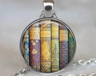 Shabby Books pendant, book pendant, library pendant, teacher's gift, librarian pendant book jewelry reader's gift keychain key chain