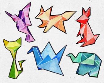 Watercolor ORIGAMI Illustrations / Digital PNG Clipart Graphics / Crane, Elephant, Fox, Cat, Rabbit, Hummingbird / commercial use
