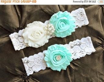ON SALE Wedding Garter, Bridal Garter Set, Mint Garter Belt, Ivory Lace Wedding Garter, Mint Wedding  Garter Set , Plus Size Garter
