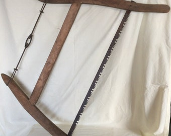 "ANTIQUE VINTAGE WOOD Bow Coping Buck Saw 28 1/2"" Blade"