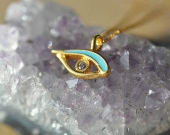 Gold and Turquoise Evil Eye Necklace in 100% Sterling Silver 925, Evil Eye Jewelry, Evil Eye Protection,  Diamond Evil Eye Pendant