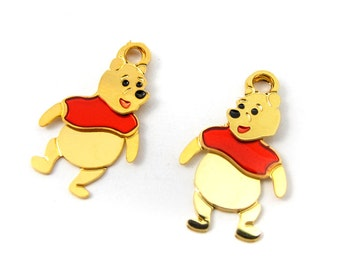 Tiny Winnie The Pooh Plated Disney Character Charms - Left and Right (8 sets) (E560)